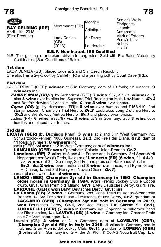 Lot 78 Goffs Land Rover Sales Catalogue Page
